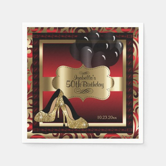 Red and Gold Metallic - 50th Birthday  | DIY Text Paper Napkins