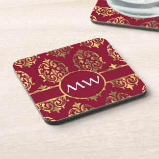 Red and gold monogram damask pattern beverage coasters