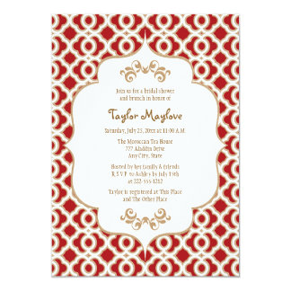 Red and Gold Moroccan Bridal Shower Invites