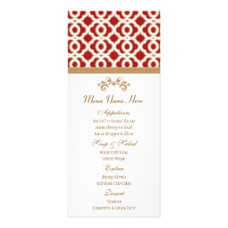 Red and Gold Moroccan Menu Customised Rack Card