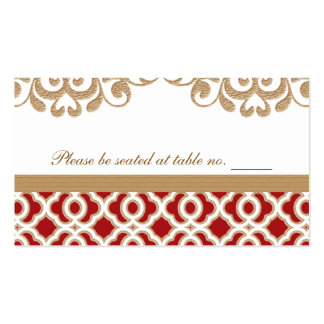 Red and Gold Moroccan Wedding Table Place Double-Sided Standard Business Cards (Pack Of 100)