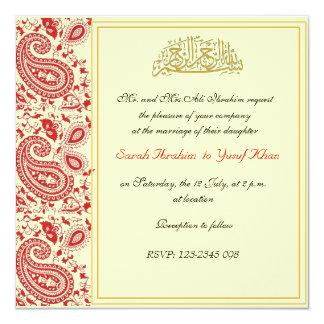 Red and gold Muslim wedding 13 Cm X 13 Cm Square Invitation Card