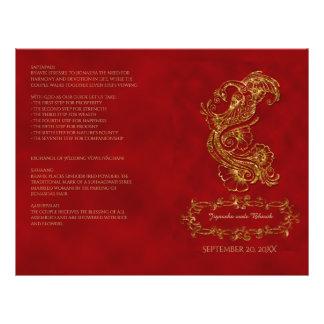Red and Gold Peacock Hindu Wedding Program 21.5 Cm X 28 Cm Flyer