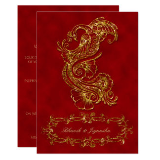 Red and Gold Peacock Indian Wedding Invitation