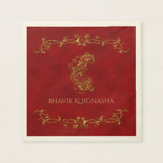 Red and Gold Peacock Indian Wedding Napkin Paper Serviettes