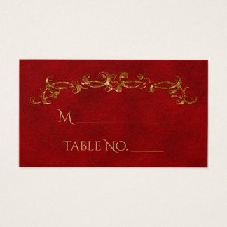 Red and Gold Peacock Indian Wedding Place Cards