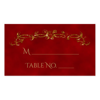 Red and Gold Peacock Indian Wedding Place Cards Pack Of Standard Business Cards