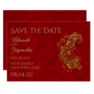 Red and Gold Peacock Indian Wedding Save the Date 9 Cm X 13 Cm Invitation Card