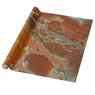 Red and Gold Pertrified Wood Wrapping Paper