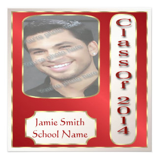 Red and Gold Photo Graduation Party Invitations