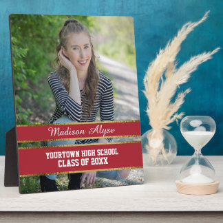 Red and Gold Photo Graduation Plaque