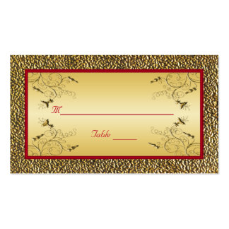 Red and Gold Placecards Business Card Templates