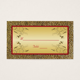 Red and Gold Placecards Business Card