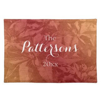 Red and gold poinsettia flower placemats