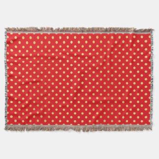 Red and Gold Polka Dots Pattern Throw Blanket