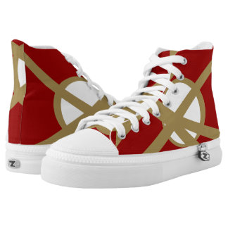 Red and Gold Portal Zipz Hi-Top Printed Shoes
