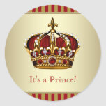 Red and Gold Prince Baby Shower Stickers