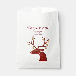 Red and Gold Reindeer Favor Bag