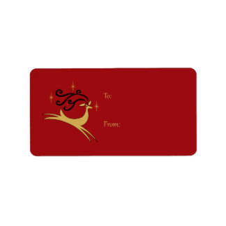 Red and Gold Reindeer Gift Tags Address Label