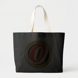 RED AND GOLD RETRO MONOGRAM LETTER O TOTE BAG