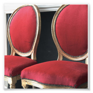 Red and Gold salon Chairs Photo Art Print