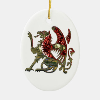 Red and Gold Shiny Metal Griffon Christmas Ornament