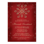 RED AND GOLD SNOWFLAKE BRIDAL SHOWER 13 CM X 18 CM INVITATION CARD