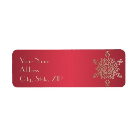 Red and Gold Snowflake Return Address