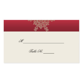 Red and Gold Snowflake Wedding Place Cards Business Card