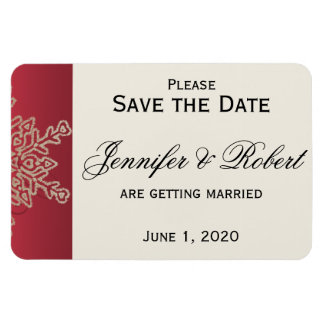 Red and Gold Snowflake Wedding Save the Date Rectangular Photo Magnet