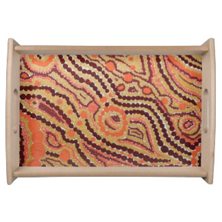 Red and Gold Space Serving Tray