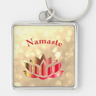 Red and Gold sparkle Namaste Lotus Flower Key Ring