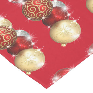 Red and Gold, Sparkling Ornaments, Christmas Medium Table Runner