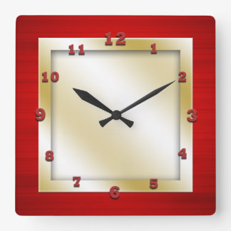 Red and Gold Square Square Wall Clock