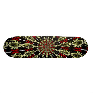 Red and Gold Stained Glass Window Kaleidoscope Skate Board