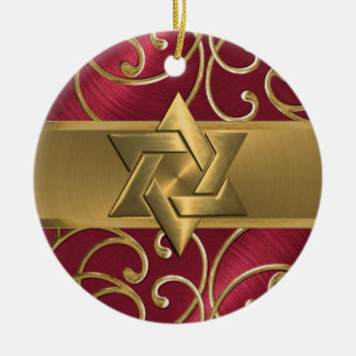 Red and Gold Star of David Ornament