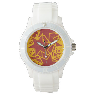 Red and Gold Star Team Spirit Sports Colors Wrist Watch