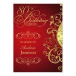 Red and Gold Swirl 80th Birthday Party Invitation 13 Cm X 18 Cm Invitation Card
