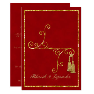 Red and Gold Tassel Indian Wedding Invitation