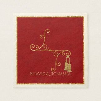 Red and Gold Tassel Indian Wedding Napkin Disposable Napkins