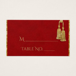 Red and Gold Tassel Indian Wedding Place Cards