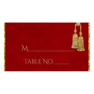 Red and Gold Tassel Indian Wedding Place Cards Pack Of Standard Business Cards