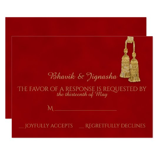 Red and Gold Tassel Indian Wedding Response Card