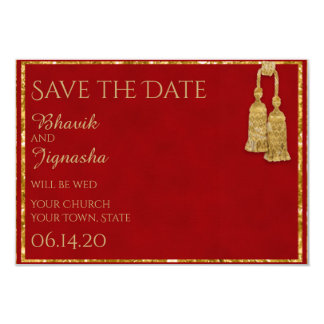 Red and Gold Tassel Indian Wedding Save the Date 9 Cm X 13 Cm Invitation Card
