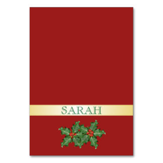 Red and Gold Tented Holiday Place Cards