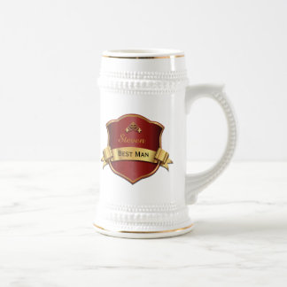 Red and Gold Tone Plaque Best Man Wedding Stein
