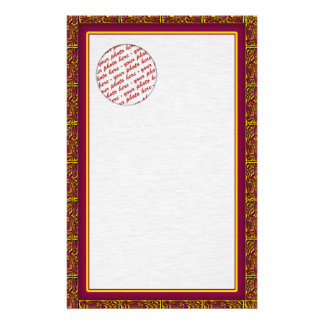 Red and Gold Trimmed Photo Frame Personalized Stationery