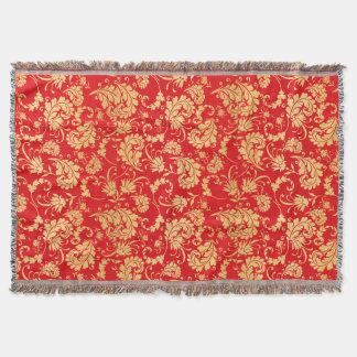 Red and Gold Vintage Leaf Damask Pattern Throw Blanket