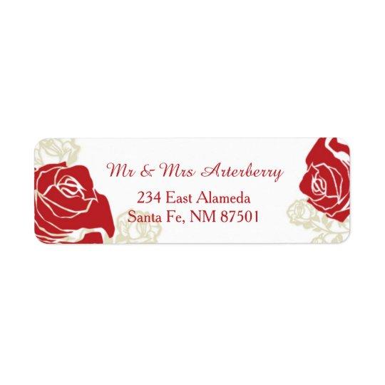 Red and golden roses return address label