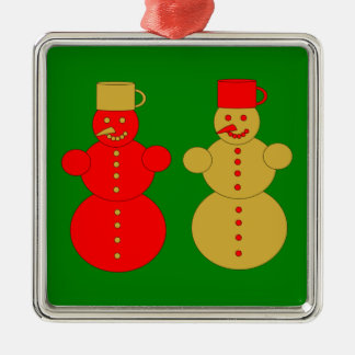 Red and golden snowmen christmas ornament